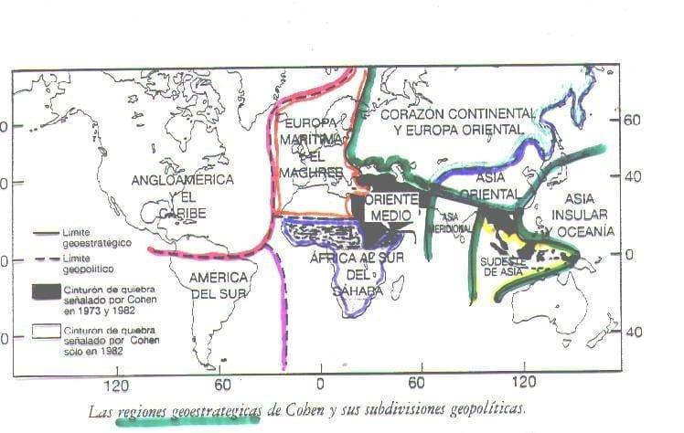 Las regiones geoestratégicas de Cohen y sus subdivisiones geopolíticas