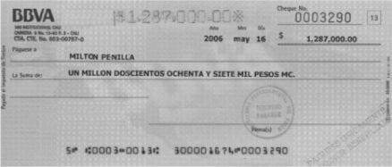 Cheque. Ejemplo de documentos comerciales