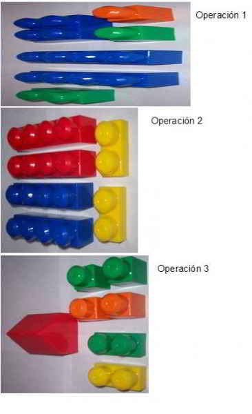 Simulación de línea de producción con mega blocks, Operaciones 1, 2 y 3