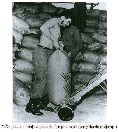 El Che en un trabajo voluntario.