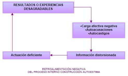 Retroalimentación negativa del proceso interno construcción autoestima