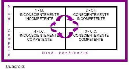Cuadro 3 Los cuatro niveles de aprendizaje (PNL)