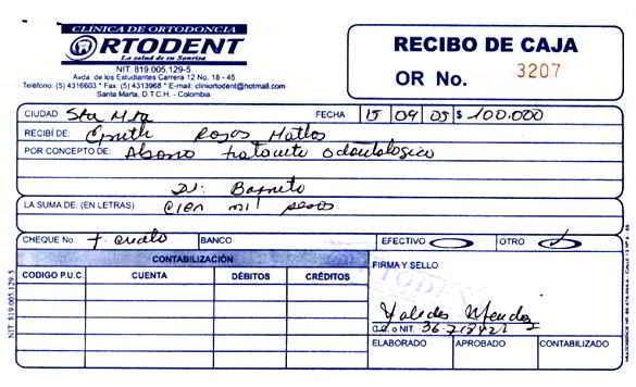 Recibo de caja o comprobantes de ingreso - Soportes contables internos y externos