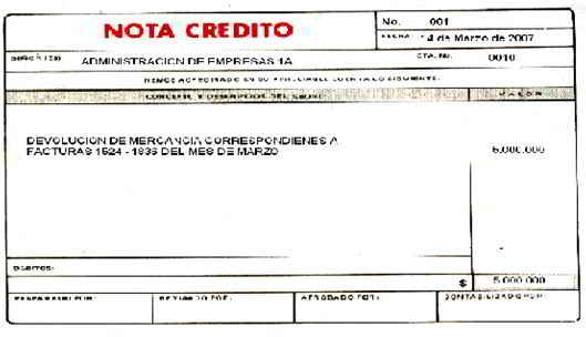 Nota Crédito - Soportes contables internos y externos