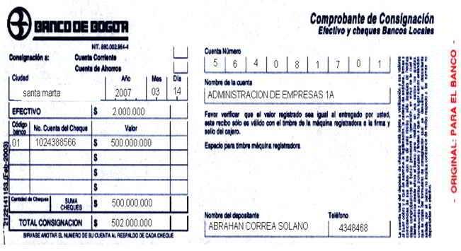 Recibo de consignación - Soportes contables internos y externos