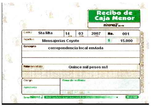 Recibo de caja menor - Soportes contables internos y externos