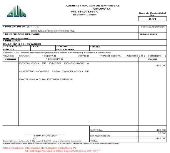 Nota de contabilidad - Soportes contables internos y externos
