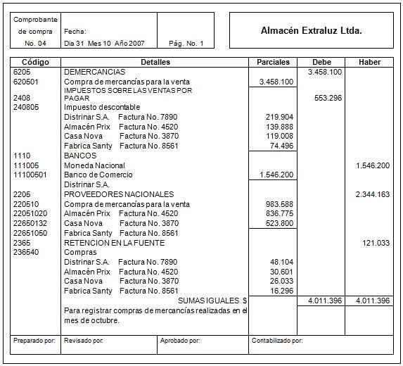 Comprobante de compra - Libros mayores - Soportes contables internos y externos