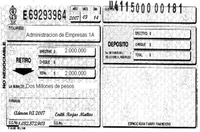 Comprobante de depósito y retiro de cuentas de ahorros - Soportes contables internos y externos