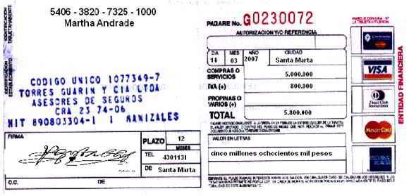 Comprobante de venta con tarjeta de crédito - Soportes contables internos y externos