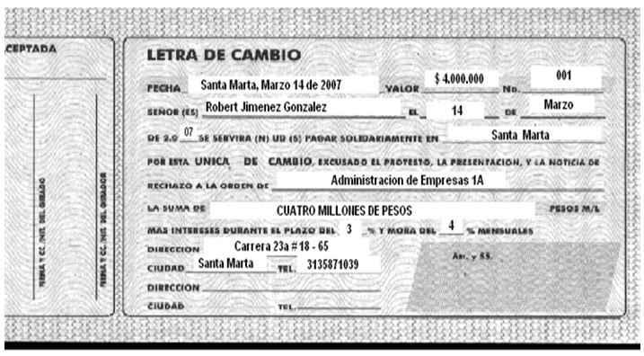 Letra de cambio - Soportes contables internos y externos