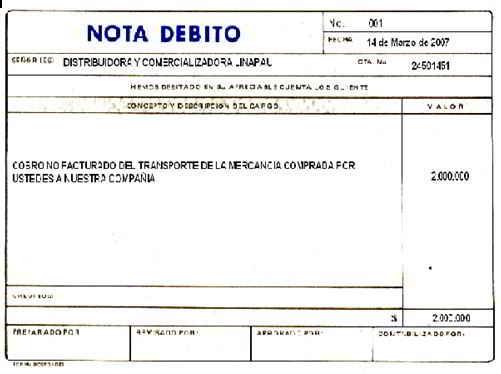 Nota Débito - Soportes contables internos y externos