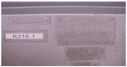 Datos de placa del motor del Ventilador K216.