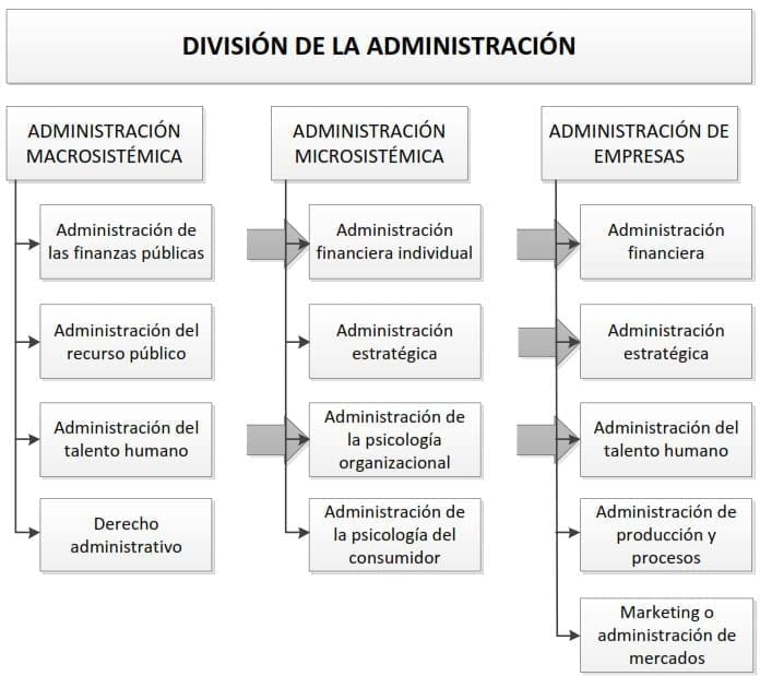 División de la administración