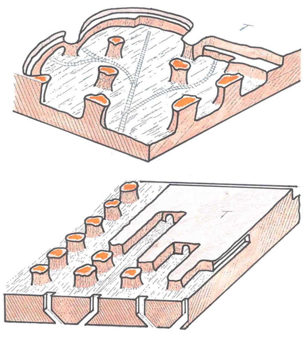 Esquema del método de minería subterránea cámaras y pilares
