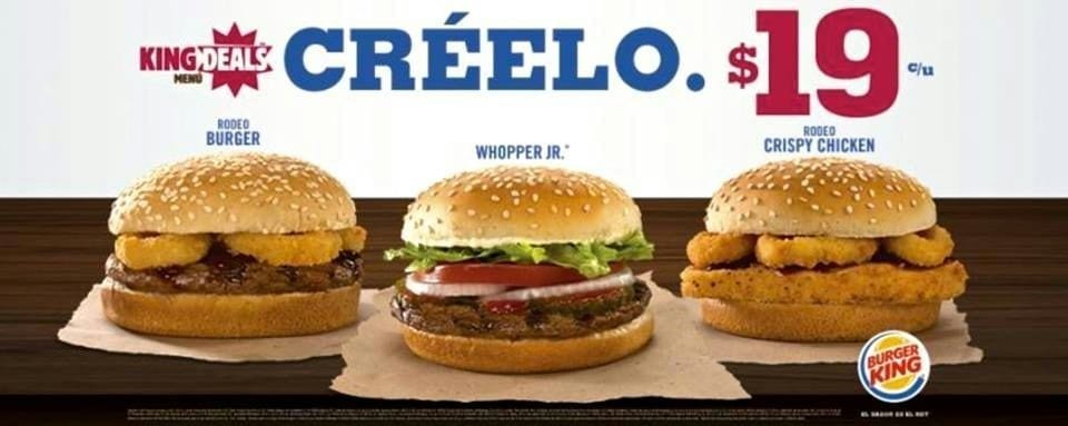 Ejemplo de anuncio de Burger King: color, precio, imagen.