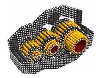 Con 15.342 átomos, este engranaje paralelo reductor de velocidad es una de los mayores dispositivos nanomecánicos, siempre modelados en detalle atómico.
