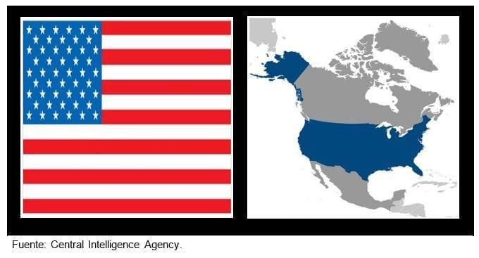 Bandera y ubicación de los Estados Unidos