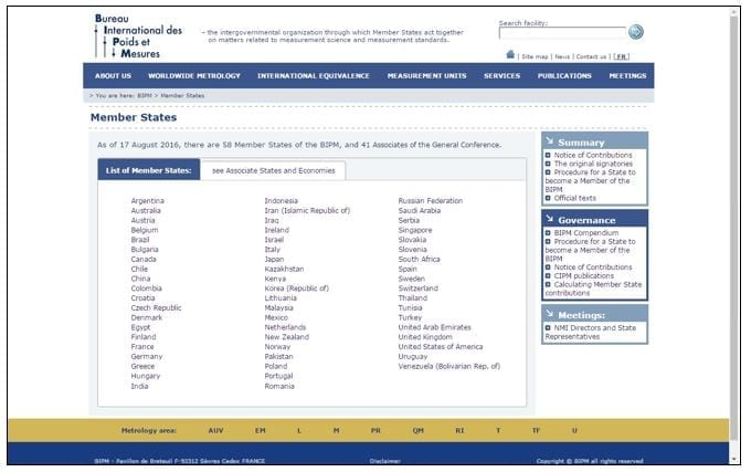 Sitio Web BIPM
