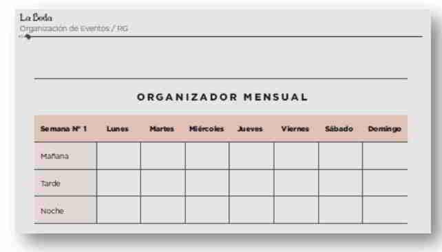 Organizador Mensual para Administrar tu Tiempo