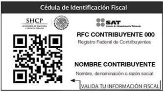 Cédula de identificación fiscal SAT México