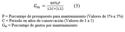 Fórmula cálculo mantenimiento