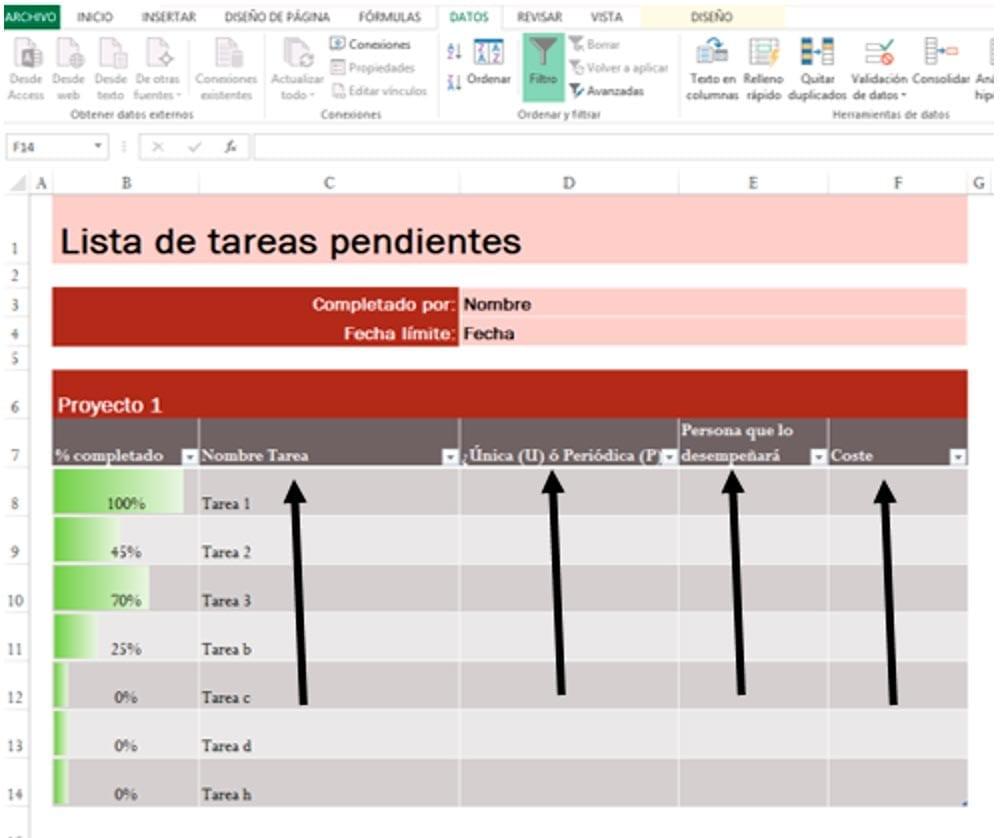 Lista de tareas pendientes en Excel