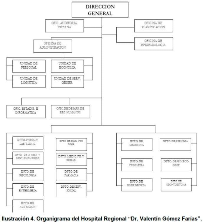 """Ilustración 4. Organigrama del Hospital Regional """"Dr. Valentín Gómez Farías"""""""