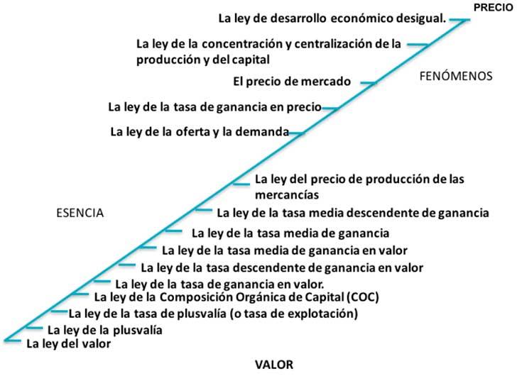 El principio universal, los eslabones intermedios y los fenómenos en la economía