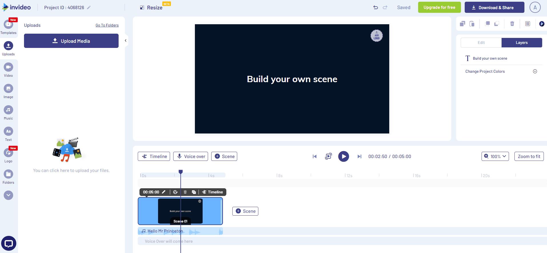 Interfaz de Invideo. Editor de Videos Profesional